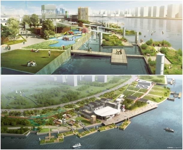 renders aéreos remodelación a orillas del rio Huangpu Shanghai Agence Ter