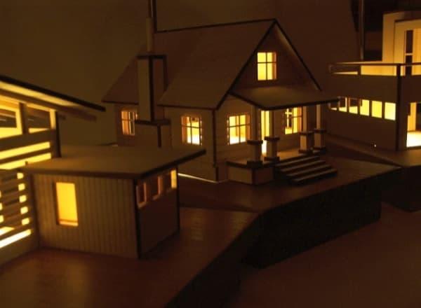 L mparas de maquetas iluminadas realizadas en madera y - Luz led casa ...