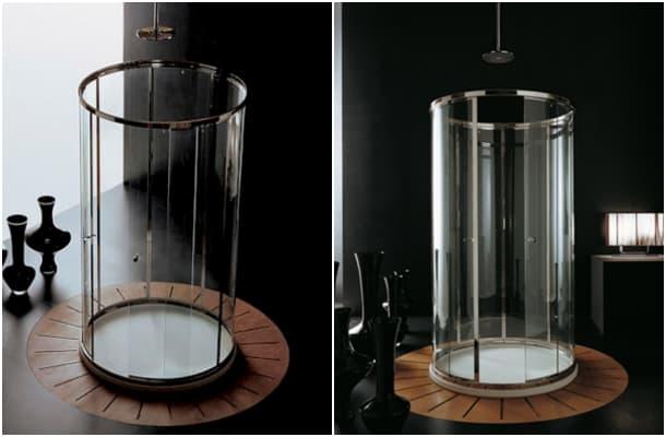 Cabina de ducha cil ndrica con puertas de vidrio curvo for Cabina de ducha easy