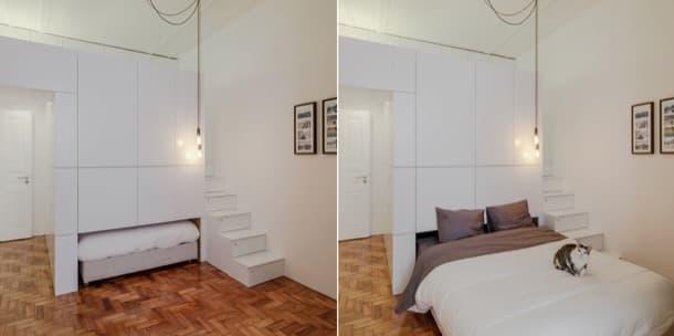 Mueble con armarios y cama para crear un altillo con for Mueble que se hace cama